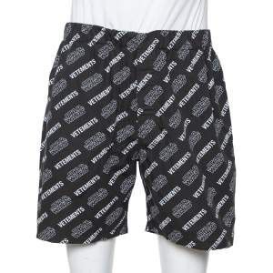Vetements X Star Wars Black Logo Print Cotton Shorts M