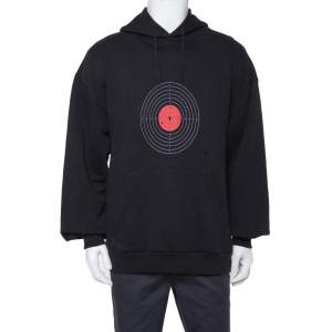 Vetements Black Knit Target Print Distressed Oversized Hoodie XS