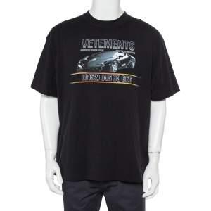 Vetements Black Logo Printed Cotton Crewneck Oversized T-Shirt S
