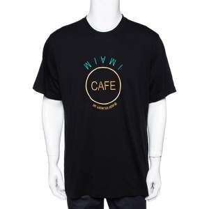Vetements Black Cotton Save The Planet Print Crew Neck Oversized T Shirt L
