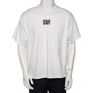 Vetements White Logo Printed Cotton Crewneck T-Shirt M