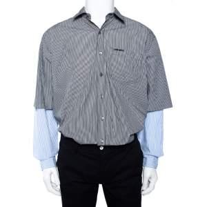 Vetements Black & Blue Striped Cotton Double Sleeve Oversized Shirt XS