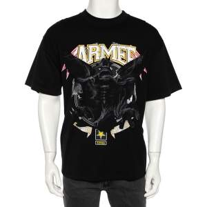 Vetements Black Cotton Armee Print and Crystal Embellished Crew Neck T-Shirt M