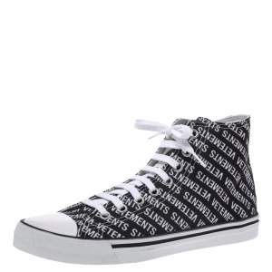 Vetements Black/White Logo Print Canvas Hi-Top Sneakers Size 41