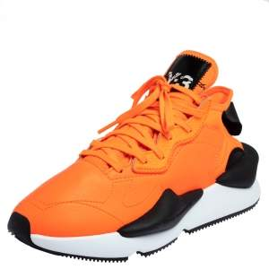 Adidas Y-3 Kaiwa Icon Orange/Black Leather And Stretch Fabric Sneaker Size 41.5