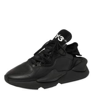 Adidas Y-3 Black Leather and Fabric Kaiwa Sneakers Size 42