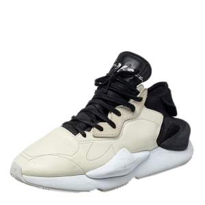 Adidas Y-3 Cream/Black Leather And Fabric Kaiwa Low Top Sneakers Size 44 2/3