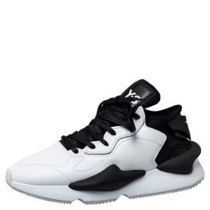 Y-3 White/Black Leather And Stretch Fabric Kaiwa Sneakers Size 43 1/3