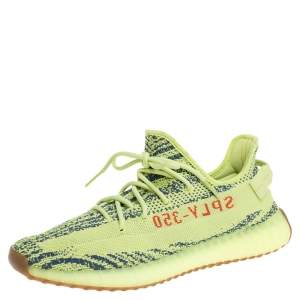 Yeezy x Adidas Green Cotton Knit Semi Frozen Boost 350 V2 Sneakers Size 47 1/3