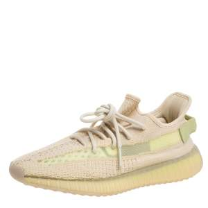 Yeezy Beige Cotton Knit Boost 350 V2 Sneakers Size 41.5