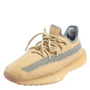 Yeezy x Adidas Beige/Grey Knit Fabric Boost 350 V2 Linen Sneakers Size 41 1/3
