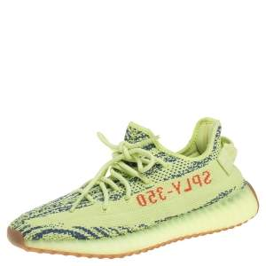 Yeezy x Adidas Semi Frozen Yellow Cotton Knit Boost 350 V2 Sneakers Size 41.5