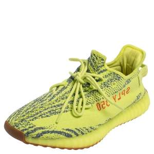 Yeezy x Adidas Green/Blue Knit Fabric Boost 350 V2 Zebra Sneakers Size 47 1/3