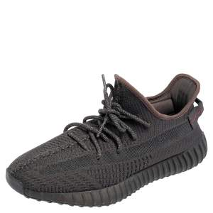 Yeezy x Adidas Black Knit Fabric 350 V2 Static  Non Reflective Sneakers Size 45 1/3