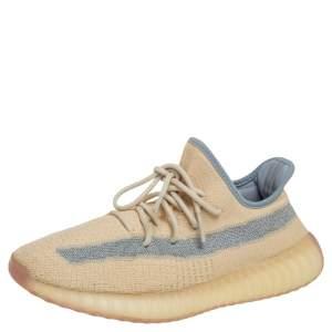 Yeezy x Adiddas Beige Knit Fabric Boost 350 v2 Linen  Sneakers Size 43.5