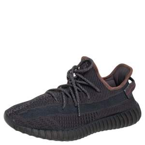Yeezy Boost 350 V2 Black Knit Fabric Non Reflective Sneakers Size 44