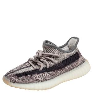 Yeezy x Adidas Grey/Brown Knit Fabric And Mesh Boost 350 V2 Zyon Sneakers Size 371/3