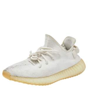 Yeezy x Adidas White Knit Fabric Boost 350 V2 Triple White Sneakers Size 42