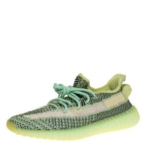 Yeezy x Adidas Green Knit Fabric Boost 350 V2 Yeezreel Reflective Sneakers Size 41.5