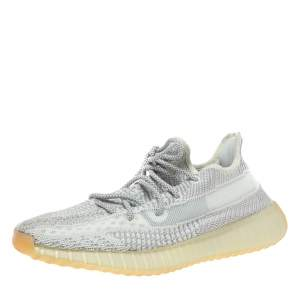 Yeezy x Adidas Grey/White Cotton Knit Boost 350 V2 Static Non-Reflective Sneakers Size 43.5
