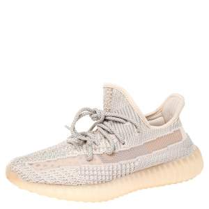 Yeezy x Adidas Pink Cotton Knit Fabric Boost 350 V2 Synth Non Reflective Sneakers Size 42
