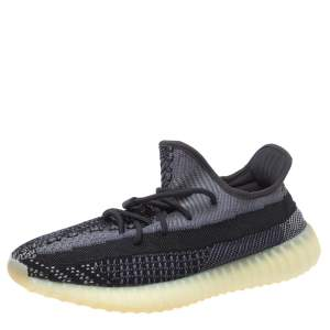 Adidas Yeezy Black Cotton Knit Boost 350 V2 Carbon Sneakers Size 47 1/3