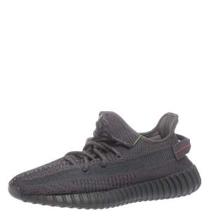 Yeezy x adidas Black Knit Fabric Boost 350 V2 Static Non Reflective Sneakers Size 43 1/3