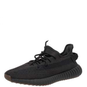 Yeezy x adidas Black Knit Fabric Boost 350 V2 Black Non-Reflective Sneakers Size 46
