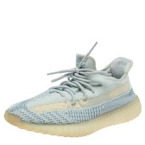 Yeezy x Adidas Blue/White Cotton Knit Boost 350 V2 'Cloud White' Sneakers Size 42.5