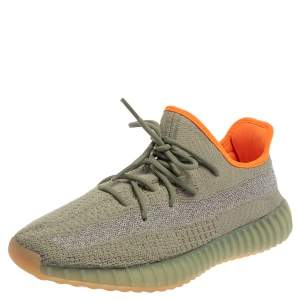 Yeezy x Adidas Green/Grey Knit Fabric Boost 350 V2 Desert Sage Sneakers Size 45 1/3