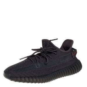 Yeezy x adidas Black Cotton Knit Boost 350 V2 Black Non-Reflective Sneakers Size 44 2/3