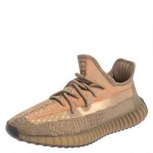 Yeezy x Adidas Brown Knit Fabric Boost 350 V2 Sand Taupe Sneakers Size 42 2/3