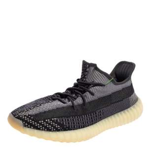 Yeezy x adidas Black/Grey Knit Fabric Boost 350 V2 Asriel Low Top Sneakers Size 49 1/3