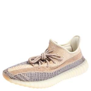 Yeezy x adidas Multicolor Knit Fabric Boost 350 V2 Ash Pearl Sneakers Size 44 2/3