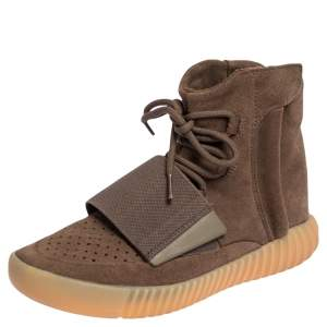 Yeezy x Adidas Boost 750 Brown Suede Glow In The Dark High Top Sneakers Size 38 2/3