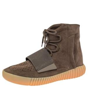 Adidas Yeezy Boost 750 Light Brown Suede Gum High Top Sneakers Size 42.5