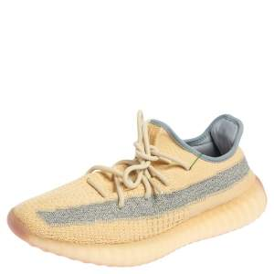 Yeezy x Adidas Beige/Grey Knit Fabric Boost 350 V2 Linen Sneakers Size 44 2/3