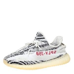 Yeezy x Adidas White/Black Cotton Knit Boost 350 V2 Zebra Sneakers Size 44