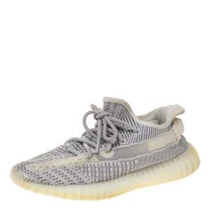 Yeezy x Adidas Grey/White Cotton Knit Boost 350 V2 Static Non-Reflective Sneakers Size US 7, UK 6.5, FR 40