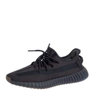 Yeezy x Adidas Dark Grey Cotton Knit Boost 350 V2 'Cinder' Sneakers Size 42