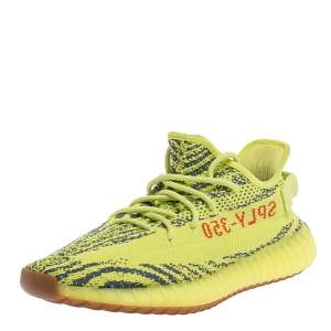 Yeezy x Adidas Yellow Cotton Knit Semi Frozen Boost 350 V2 Sneakers Size 43.5