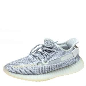 Yeezy x Adidas Grey/White Cotton Knit Boost 350 V2 Static Non Reflective Sneakers Size 41 1/3
