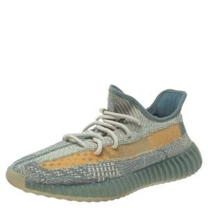Yeezy x Adidas Blue/White Knit Fabric Boost 350 V2 Israfil Sneakers Size 42.5