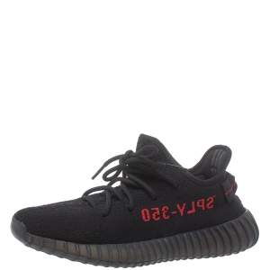 Adidas Yeezy Black/Red Knit Fabric Boost 350 V2 Low Top Sneakers Size 40.5