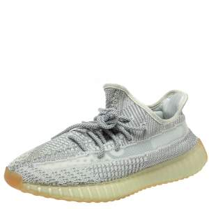 Yeezy x Adidas Grey Cotton Knit 350 V2 Yeshaya Reflective Sneakers Size 42.5