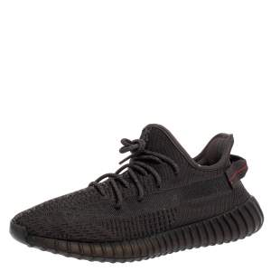 Yeezy x Adidas Black Knit Fabric Boost 350 V2 Sneakers Size 46