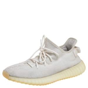 Yeezy x adidas Cream Cotton Knit Boost 350 V2 Triple White Sneakers Size 44