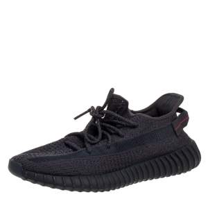 Yeezy x adidas Black Knit Fabric Boost 350 Cinder Sneakers Size 44