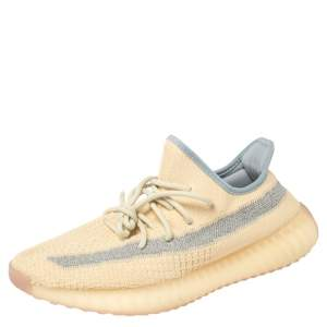 Yeezy x adidas Yellow Cotton Knit Boost 350 V2 Linen Sneakers Size 42 2/3