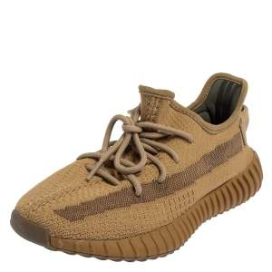 Yeezy x adidas Brown Knit Fabric Boost 350 V2 Earth Sneakers Size 40.5